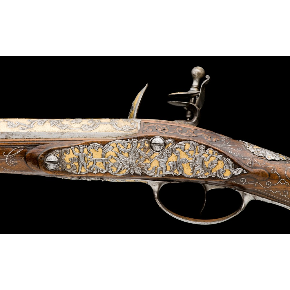 A fine 22 bore french flintlock fowling piece made for