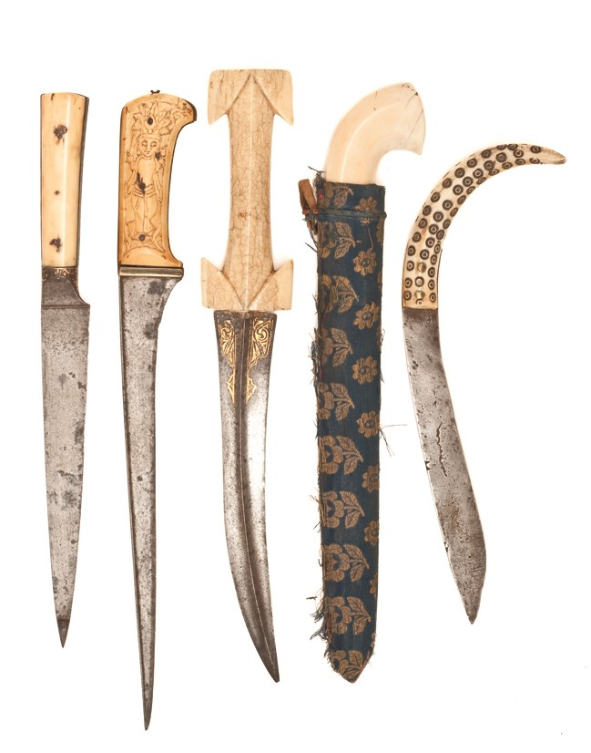 Five eastern daggers including a persian kard and a persian