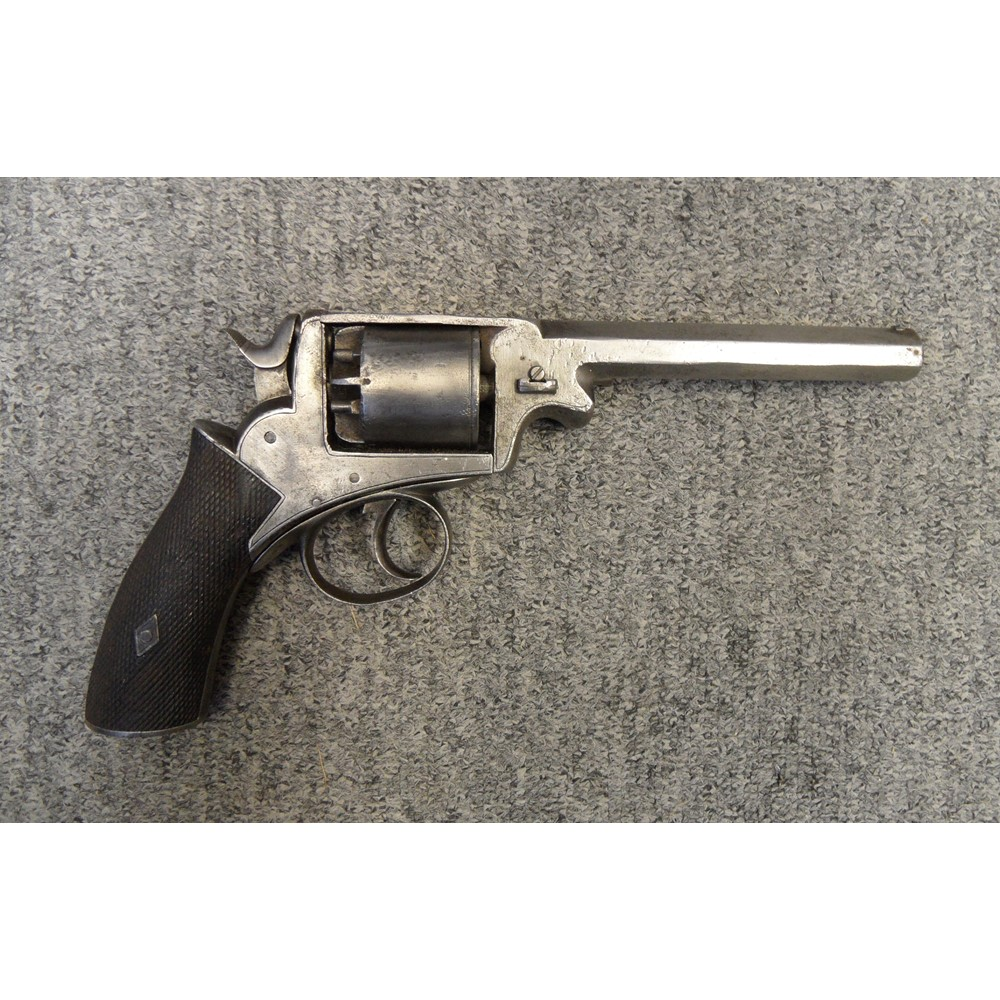 A 54 bore five shot double action percussion revolver retailed by e