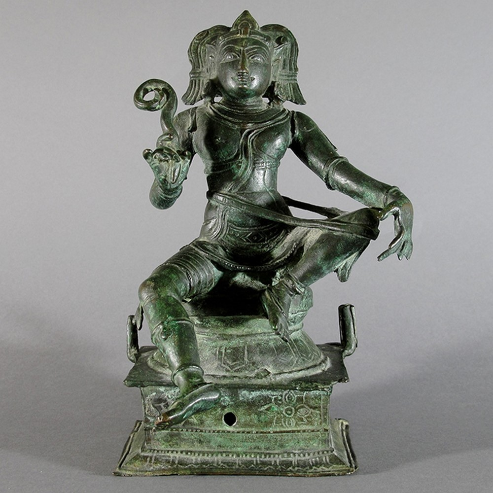 A late chola bronze figure of aiyanar | Olympia Auctions