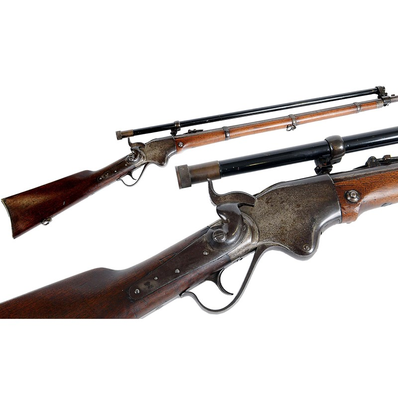 A spencer repeating rifle & telescopic sight  | Lawrences