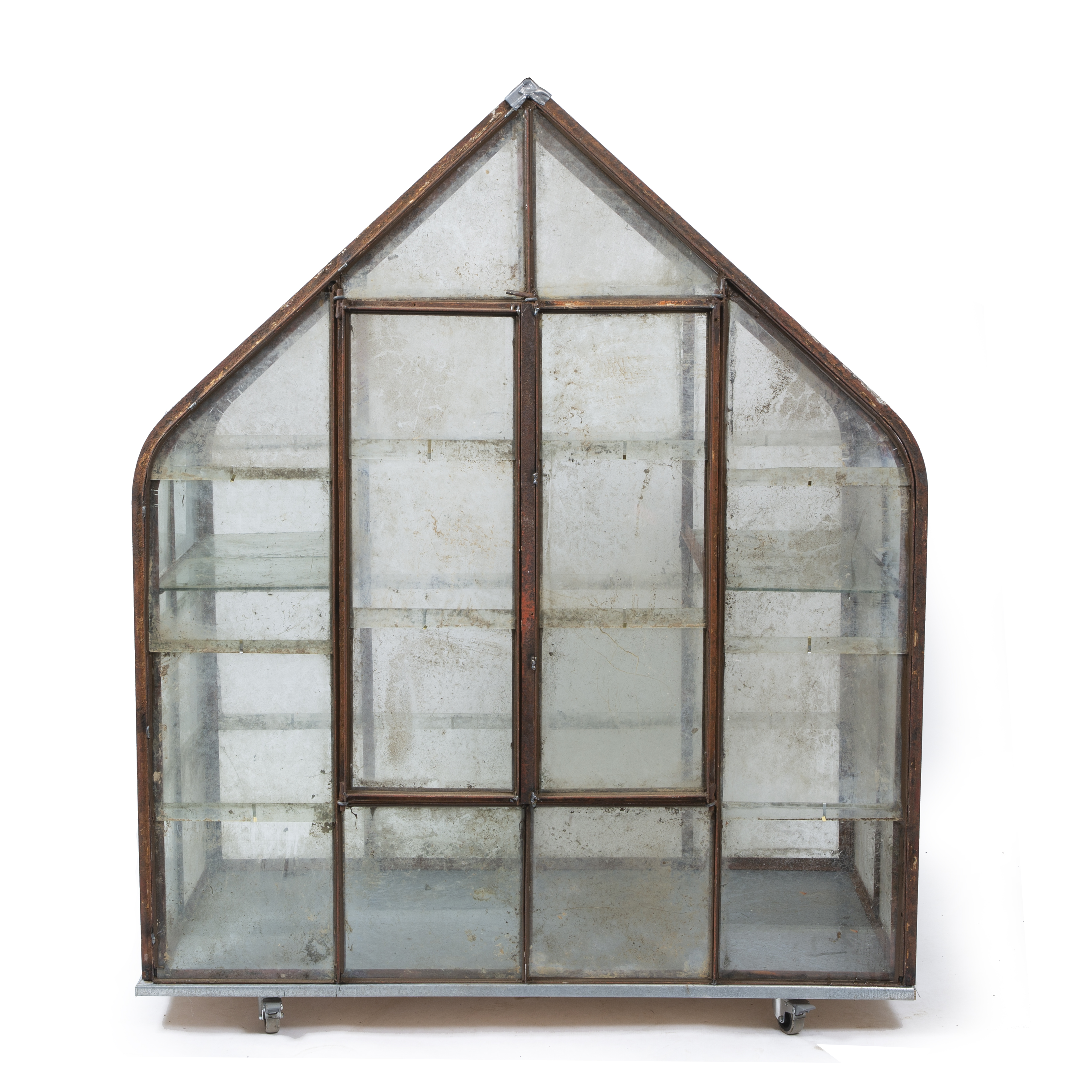 A WROUGHT IRON GLAZED MINIATURE GREENHOUSE OR FERN HOUSE Image