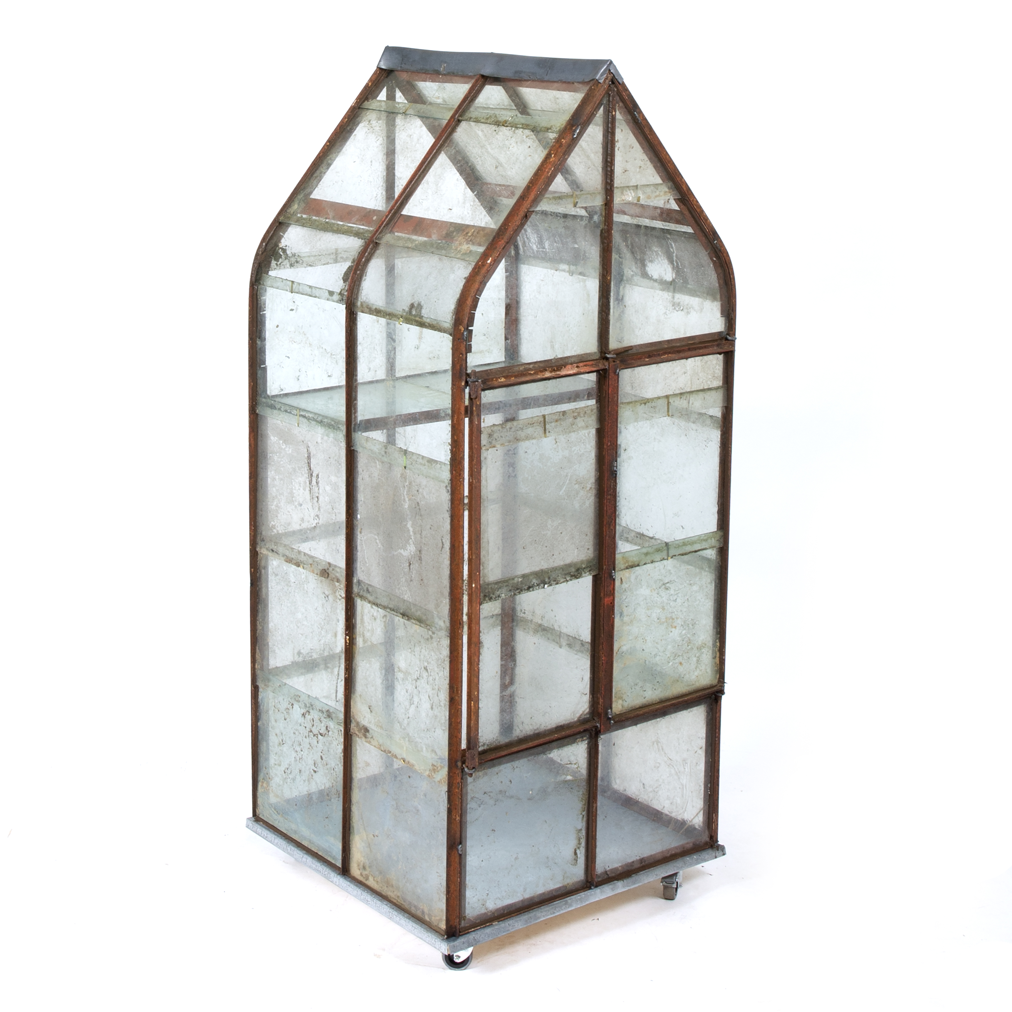A WROUGHT IRON GLAZED MINIATURE GREEN HOUSE OR FERN HOUSE Image