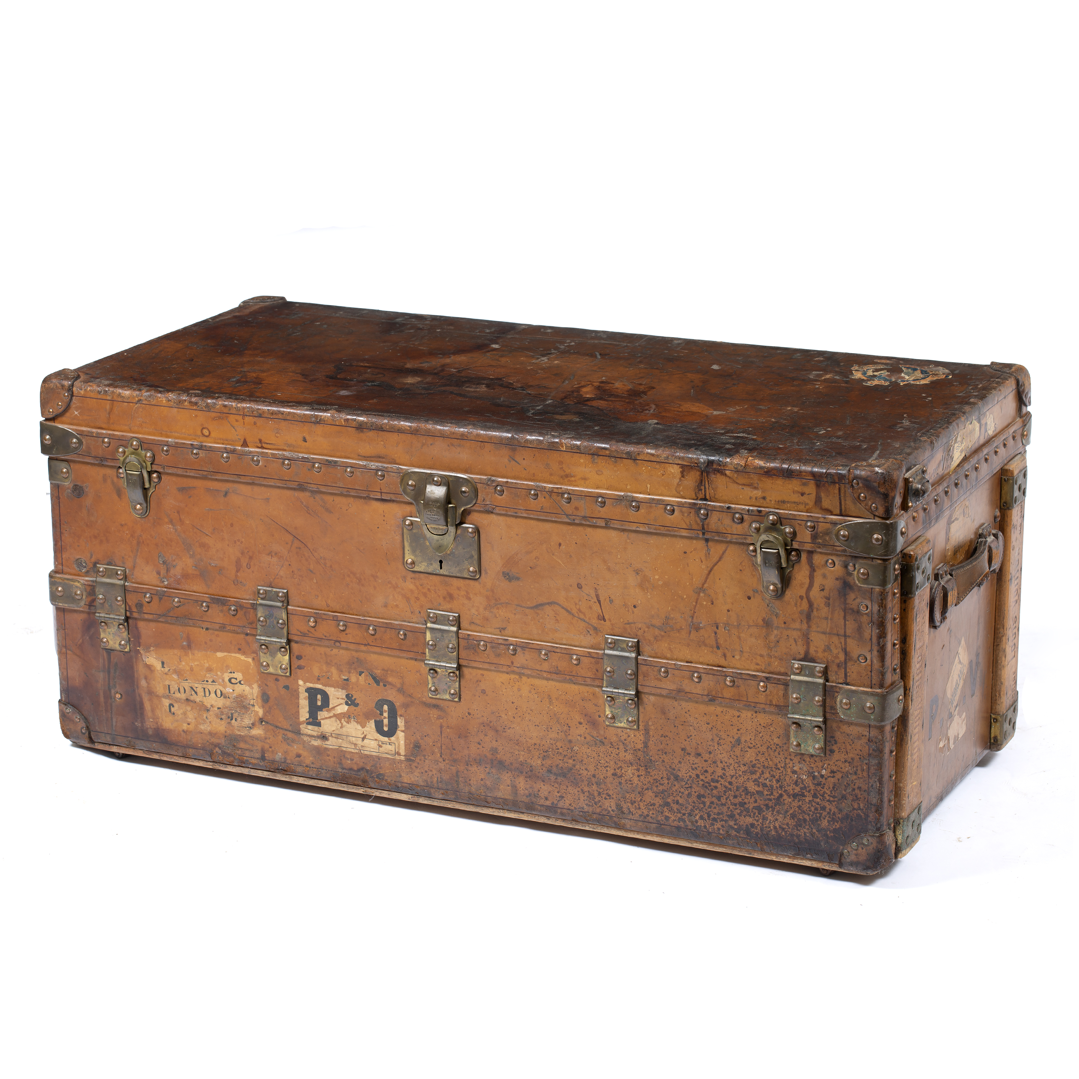 AN EARLY 20TH CENTURY LOUIS VUITTON BROWN LEATHER WARDROBE TRUNK  Image