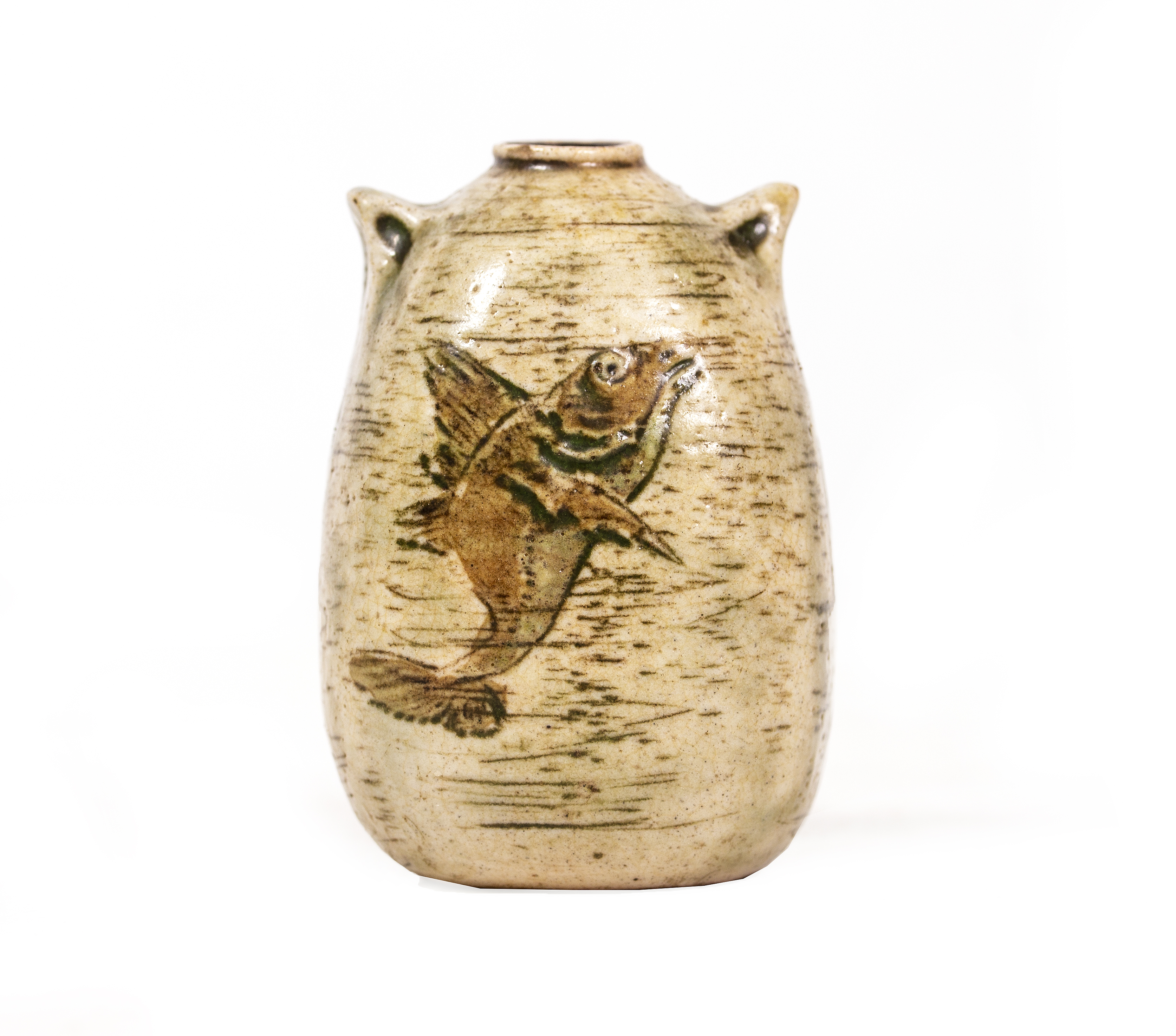 A MARTIN BROTHERS STONEWARE MINIATURE TWIN HANDLED VASE Image